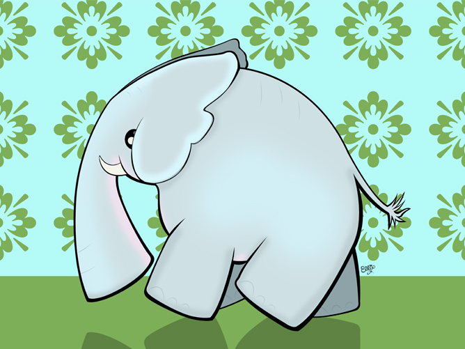 Elephant Cartoon Art for Kids by Ellie