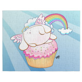 Angel Bunny Riding a Cupcake