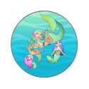 Mermaid Family Cartoon for Kids by Ellie Stickers