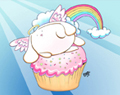Angel Bunny Riding a Cupcake Cartoon Art for Kids by Ellie